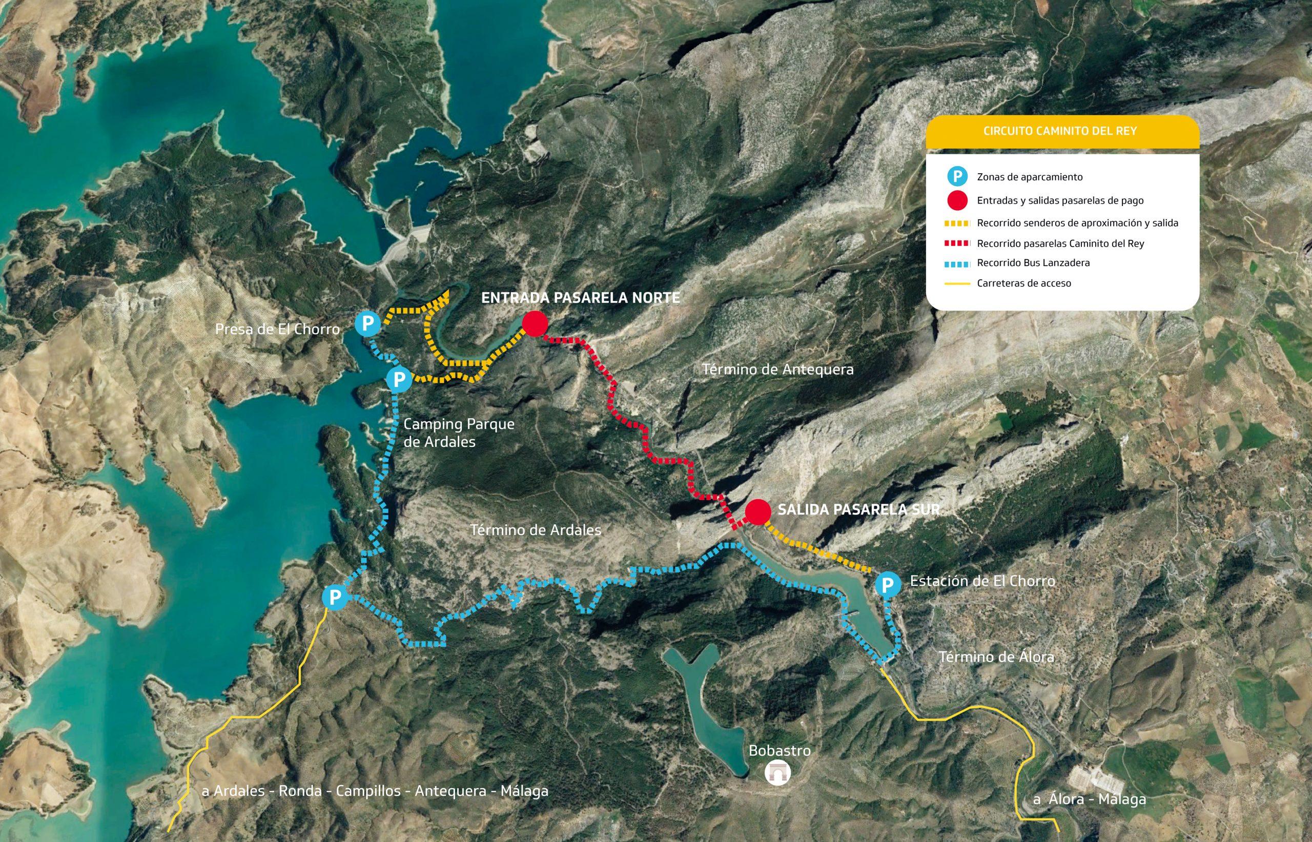 Mapa Como llegar al Caminito del Rey Málaga